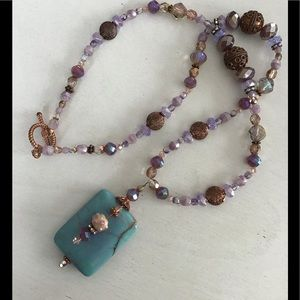 Hand Craft OOAK Copper Art Glass Crystals Necklace